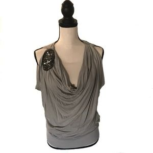 3/$20 Express Silver Long Drape Top